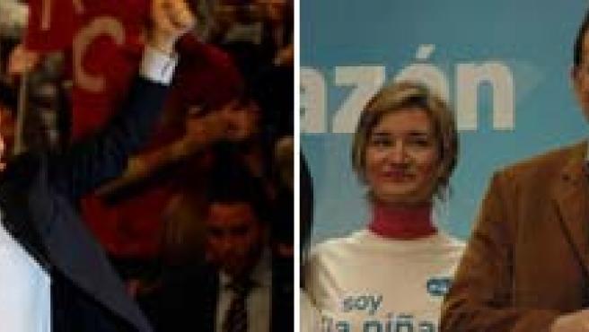Baño de multitud para Zapatero en Barcelona y Rajoy tras el mitin en el Palacio de Congresos y Exposiciones de Teruel. (EFE)