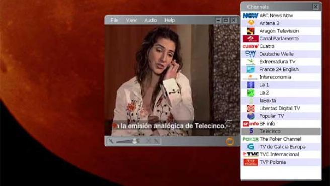 Imagen que mostraba Telecinco en la TDT a las 20.30 horas, con el mensaje que remite a la emisión analógica de la cadena.