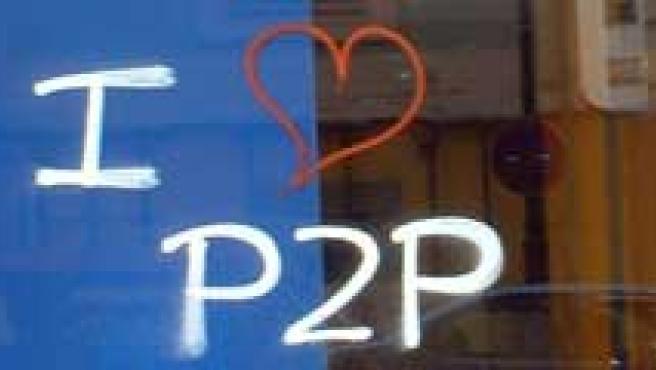 Una pintada a favor del uso del P2P