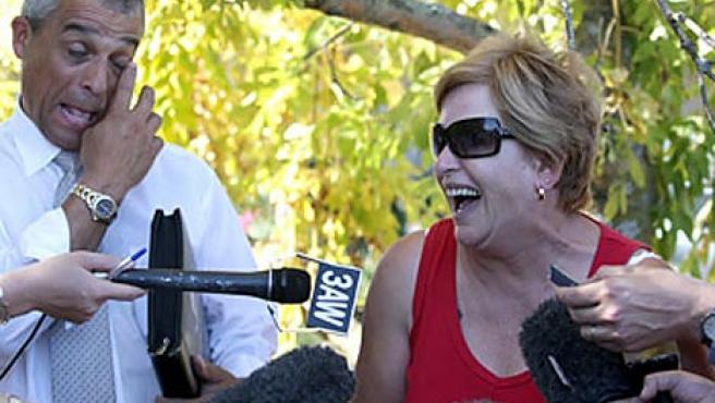 Heather Ostell, durante la rueda de prensa en la que iban a anunciar su asesinato. (Daily Mail)
