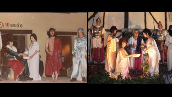 Representación de la escena 'Pilatos lavándose las manos'. Año 1975 (izq.) y año 2007 (dra. Foto. Fernando Garijo Gil)
