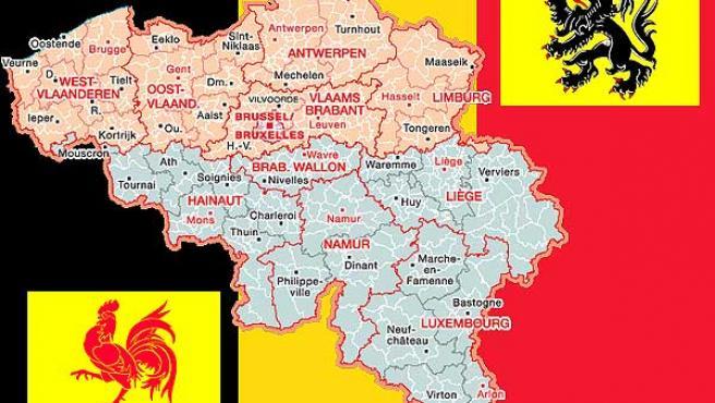 Partición territorial de Bélgica, con la bandera valona y la flamenca (Fuente: Wikipedia).