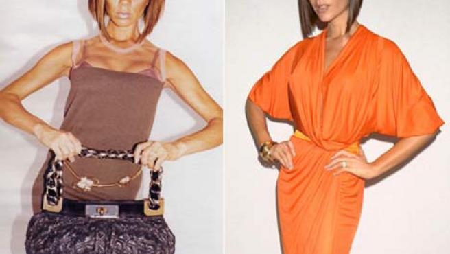 El nuevo posado de Victoria Beckham (izquierda) comparado con uno anterior. (DAILY MAIL)