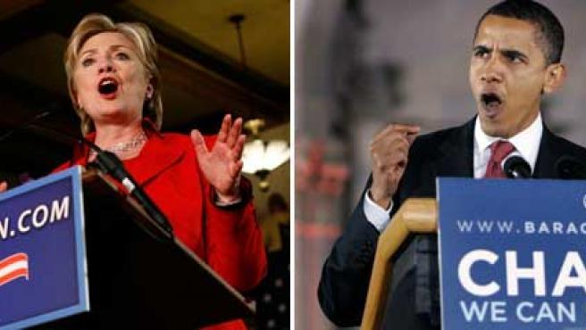 Clinton y Obama, en sendos actos de campaña.