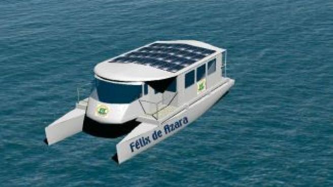 Recreación de uno de los barcos solares que surcarán el Ebro.