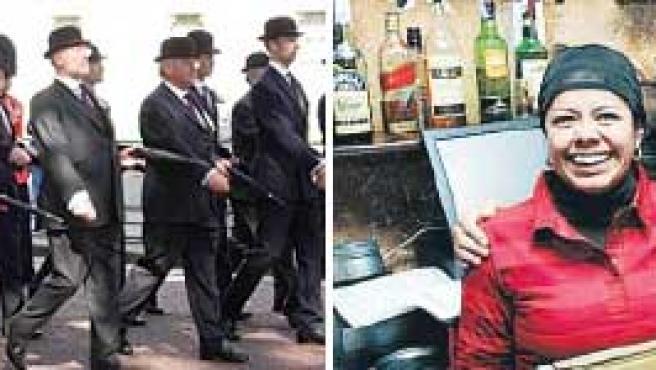 Empleados serios y empleados contentos (Fotos: Humor Positivo y Jorge París)