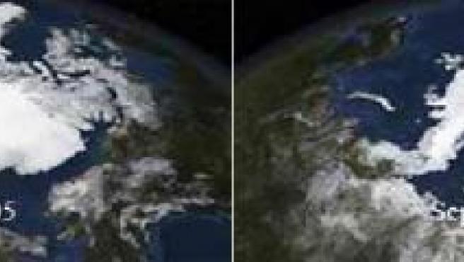 Imágenes de la superficie helada en septiembre de 2005 y septiembre de 2007.