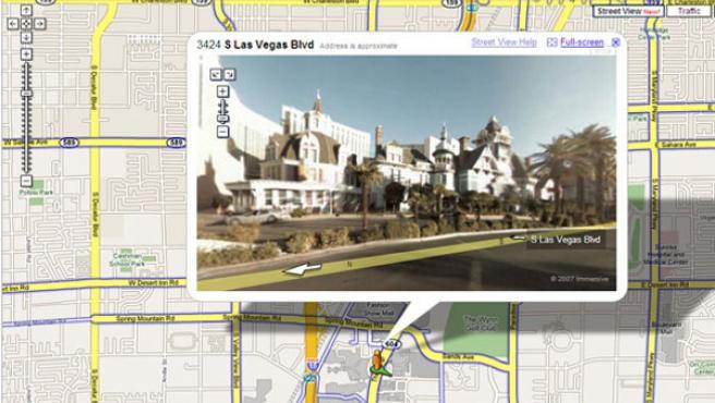 Captura de pantalla del servicio de imágenes reales sobre mapas de Google.