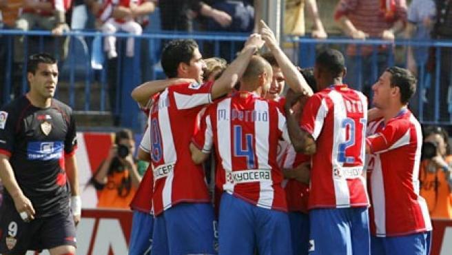 Los jugadores del Atlético celebran un gol esta temporada. (EFE)