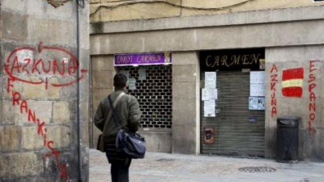 Insultos a Azkuna en el Casco Viejo. M. TOÑA / EFE