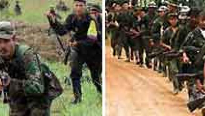 Guerrilleros de las FARC en campos de entrenamiento.