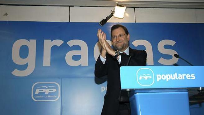 El presidente nacional del PP, Mariano Rajoy, durante el acto celebrado en Toledo. (Jesús Carvajal / EFE).