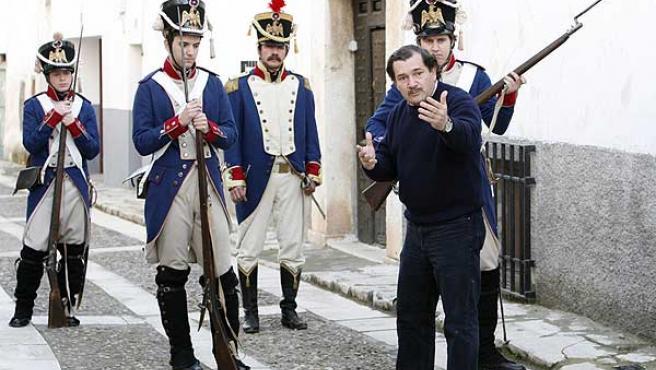 Un momento del rodaje sobre el Madrid del 2 de Mayo de 1808. (TELEMADRID)