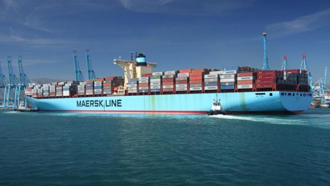 El 'Eugen Maersk' en su primera escala en el puerto algecireño.