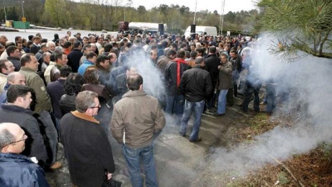 Imagen de una protesta ganadera por el precio de la leche a principios de mes. (ARCHIVO)