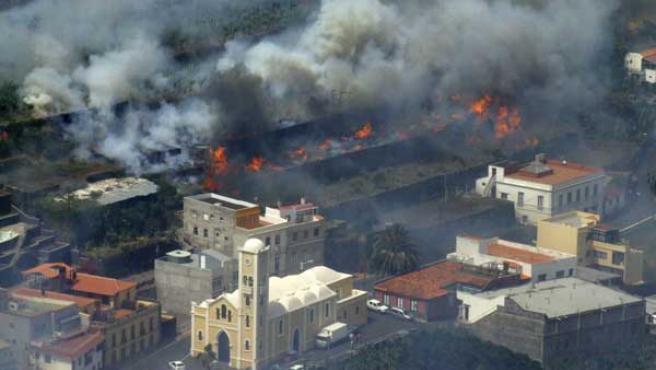 Vista aérea del incendio de La Gomera.