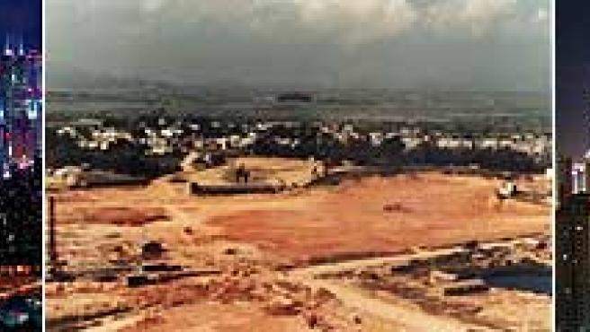 Varias imágenes de la ciudad; en el centro, su aspecto original (AGENCIAS).