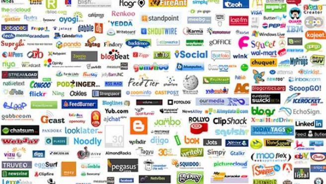 Logotipos de algunos servicios sociales online.