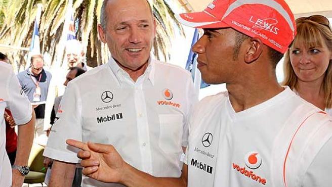 Ron Dennis y Lewis Hamilton en el pasado GP de Australia.