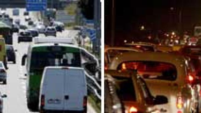 Varias retenciones de tráfico tomadas por las diferentes cámaras de la DGT, en las autovías A-4, A-3 y M-40 de Madrid.