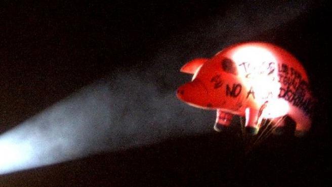 El emblemático cerdo inflable de los conciertos de Pink Floyd.