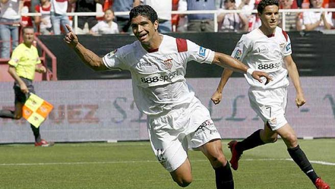 Renato celebra un gol frente al Valladolid.