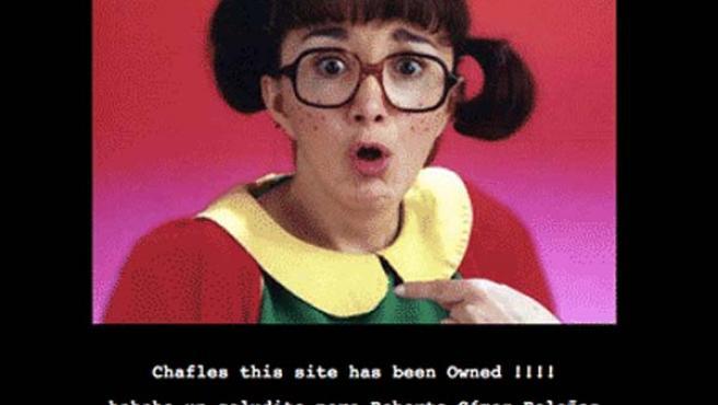 La Chilindrina, uno de los personajes de la serie Chavo del Ocho, con cuya imagen han hackeado la página del Senado de México.