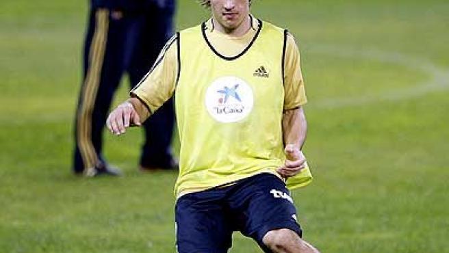 Bojan, durante un entrenamiento con la selección española.