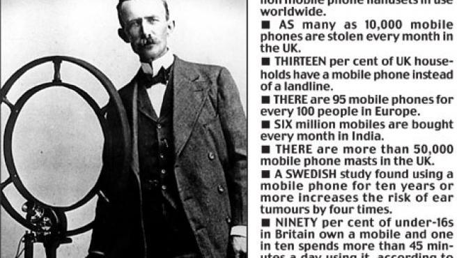 Nathan Stubblefield y el primer móvil. (Daily Mail)