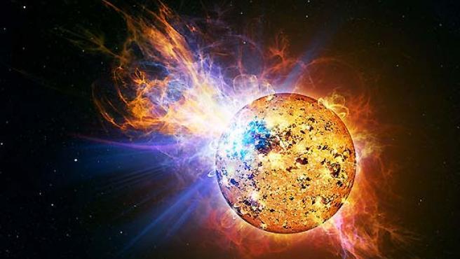 Recreación del resplandor en la estrella EV Lacertae. (NASA).