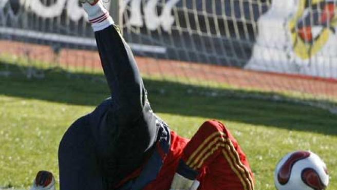 Iker Casillas en un entrenamiento de la selección española.
