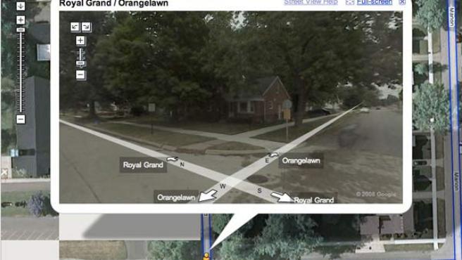 Imagen del servicio de callejero virtual de Google