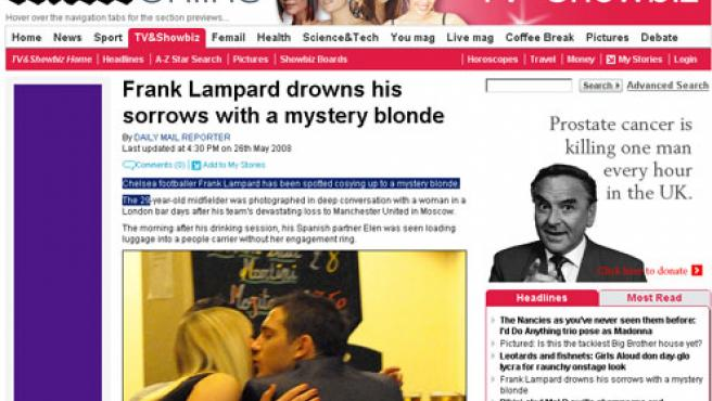 Frank Lampard y la misteriosa rubia ( FOTO:DAILY MAIL )