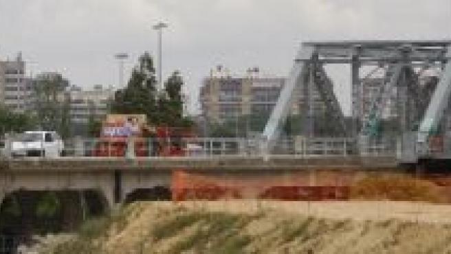 Obras del puente de hierro de San Juan