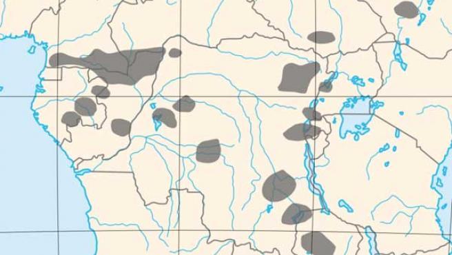 Mapa que muestra la situación de los pigmeos en África. (WIKIMEDIA)