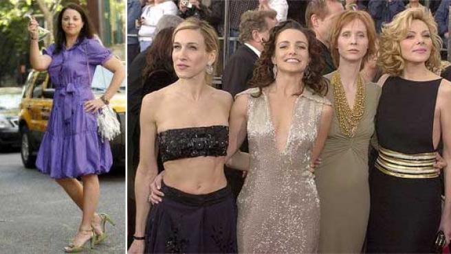 Ella Sherman (i) y las protagonistas de 'Sexo en Nueva York': Sarah Jessica Parker, Kristin Davis, Cynthia Nixon y Kim Cattrall.