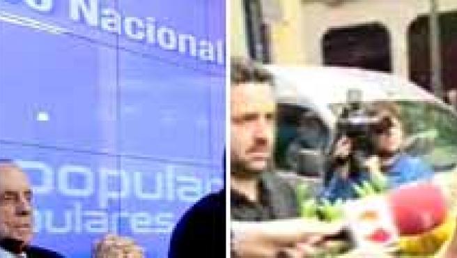 Manuel Fraga, junto a Mariano Rajoy, durante la celebración del Comité Ejecutivo del PP, y el senador cuando entraba en la sede del partido en Madrid.