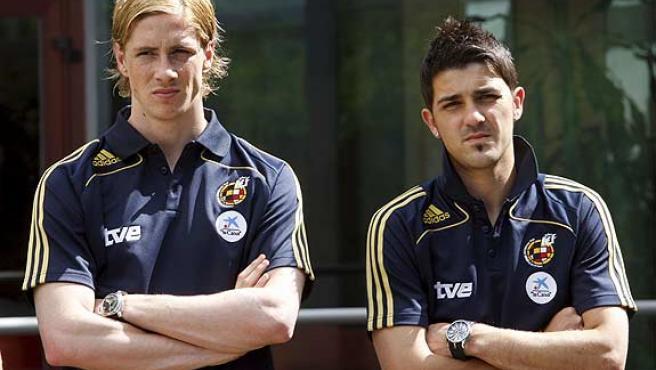 Fernando Torres (i) y David Villa.
