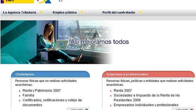 Captura de la página web de la Agencia Tributaria (Web Agencia Tributaria).