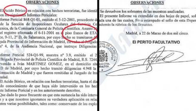 Informe verdadero, que recoge el registro del piso de ETA (i), y las observaciones del falso. (Foto: El Mundo)