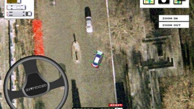 Un simulador de conducción en los mapas de Google.