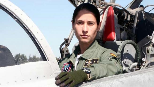 Rocío González en la Base Aérea de Talavera la Real (Badajoz). MINITERIO DE DEFENSA