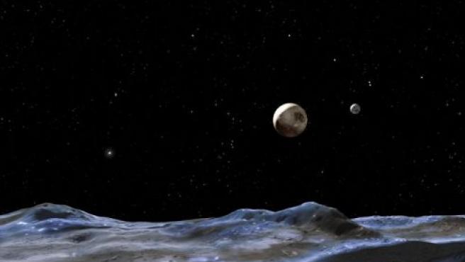 Esta ilustración muestra a Plutón tal como se lo vería desde una de sus lunas. (ARCHIVO)