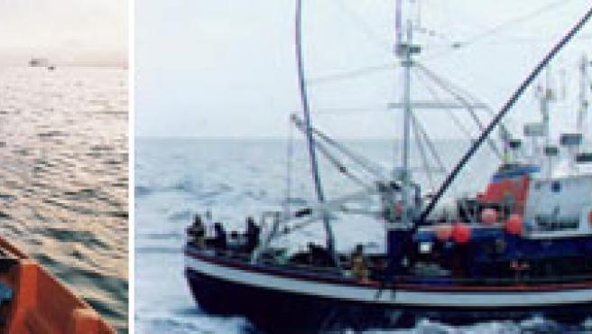 Un barco de pesca faenando.