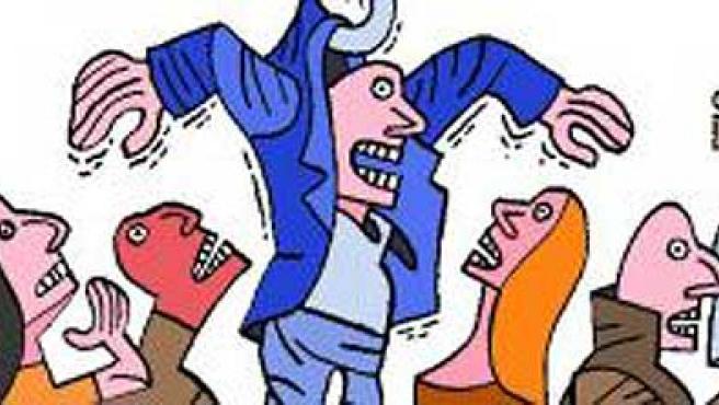 Las colas en el INEM provocan conatos de violencia en las oficinas, denuncian los trabajadores. (Viñeta: Eneko)