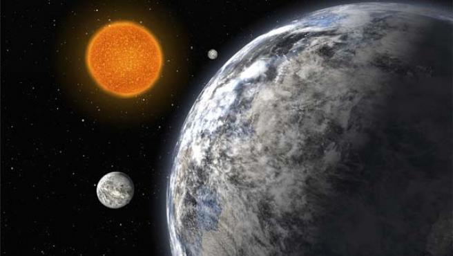 Recreación artística del hallazgo de los planetas.