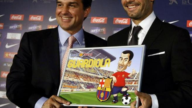 Guardiola, en su presentación como técnico culé (Reuters).