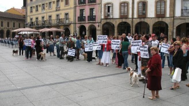 Manifestación a favor de un albergue en Avilés.