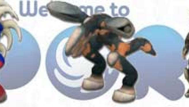 Criaturas con forma de Mario, Sonic, Metal Gear, el Jefe Maestro y un Goomba (de izquierda a derecha).