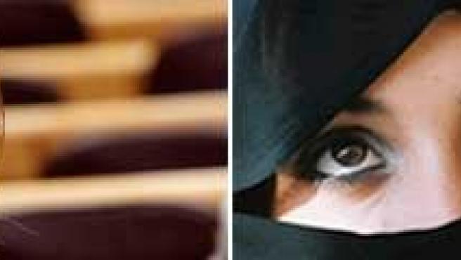 La ministra de Igualdad, Bibiana Aído, y una musulmana con chador. (ARCHIVO)